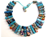 Artizan Made Fabric Scrap Beads Necklace