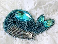 BeadsMagic Bead Embroidered Whale Brooch