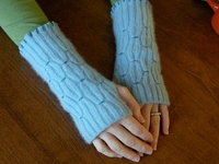 Betz White Recycled Smocked Wrist Warmers