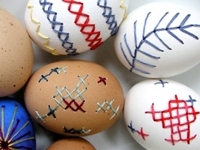 DesignSponge Embroidered Eggs