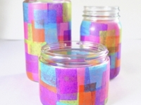 Dream a Little Bigger Faux Stained Glass Votive