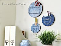 Home Made Modern Jeans Pocket Organizer in Embroidery Hoop
