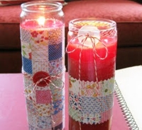 Just Something I Made Faux Quilt Votives