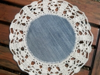 Kiwi Little Things Jeans and Crochet Lace Doily