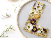 LilyArdor Embroidery Hoop with Pressed Flowers