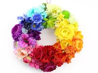 Lines Across Rainbow Flower Wreath