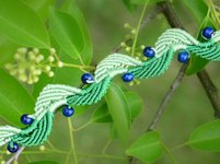 Macrame School Leaf and Blueberry Macrame Bracelet