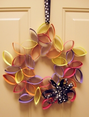 colourful toilet paper roll wreath