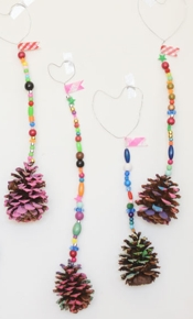 Meri Cherry Colourful Beads and Pine Cone Ornaments
