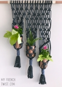 My French Twist Macramé Holder for 3 Plants