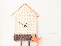 One Dog Woof Crocheted Cuckoo Clock