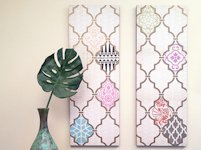Paint + Pattern Stencil and Decoupage Wall Art