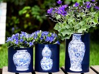 Pillar Box Blue Faux Vase Flower Pots