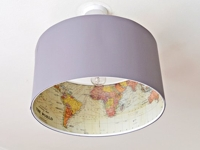 Pillar Box Blue Inside Map Lampshade