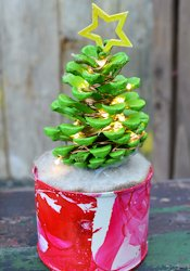 Pillar Box Blue Lighted Pine Cone Christmas Tree
