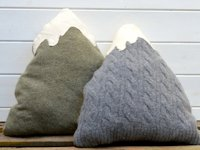 Pillar Box Blue Sweater Mountain Pillow
