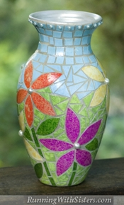 Running With Sisters Faux Mosaic Vase