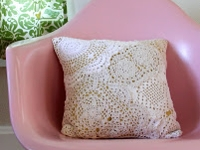 Smile and Wave Crochet Doily Pillow