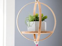 Stitched Modern Embroidery Hoop Hanging Shelf