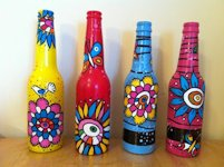 arts and crafts ideas projects Painted Bottle Vases