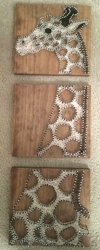 etsy brokenwingArts 3 Panel Giraffe String Art