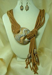 etsy ljeans Fabric Necklace with Polymer Clay Clasp