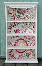 flickr cottagechicmosaics Broken China Mosaic Shelf