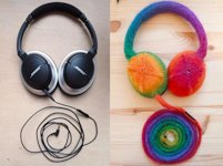 instructables Becca Rose Knitted Rainbow Headphones