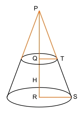 how to find the height of a truncated cone